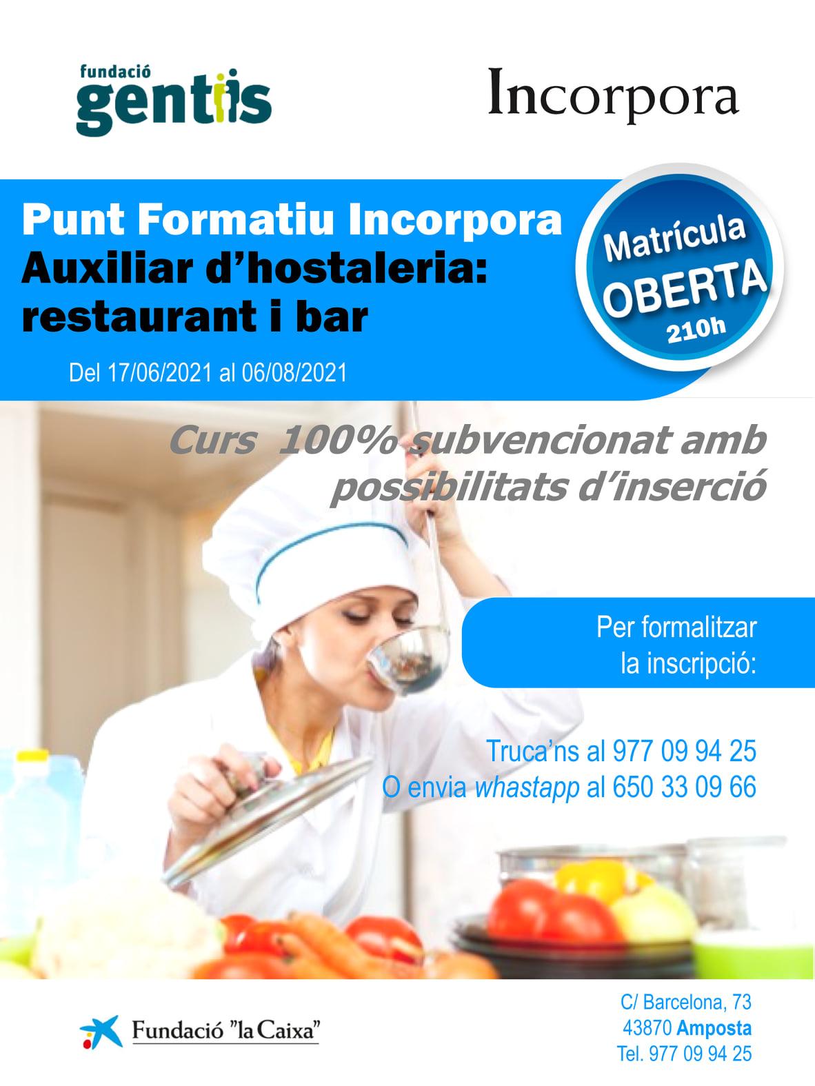 [CURS] Auxiliar d'hostaleria: restaurant i bar